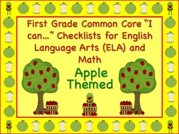 Apple Themed First Grade Common Core Checklist (ELA) Language Arts & Math