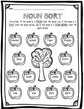 Apple Themed Grammar Sorting