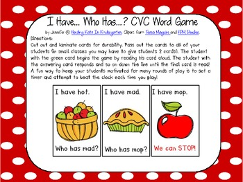 Apple Themed  I have...Who has..? CVC Word Game