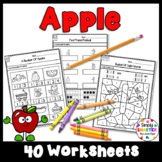 Apple Themed Kindergarten Math and Literacy Worksheets and Activities