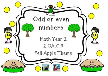 Apple Themed Math 2.OA.C.3  Odd & Even Numbers Autumn Fall Theme Year 2