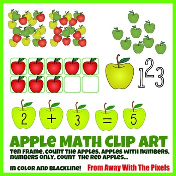 Apple Themed Math Clip Art Set - Color and Blacklines!