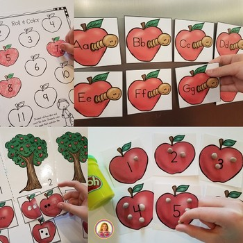 Apple Themed Math & Literacy Centers for Kindergarten