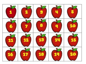 apple themed math pack numbers 120 by the primary sisters