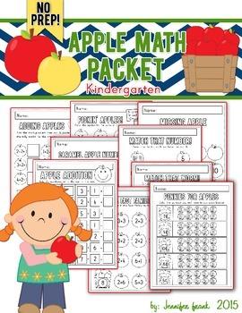 Apple Themed Math Packet: Kindergarten/NO PREP!