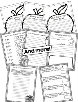 Apple Themed Math, Science and Literacey Bundle