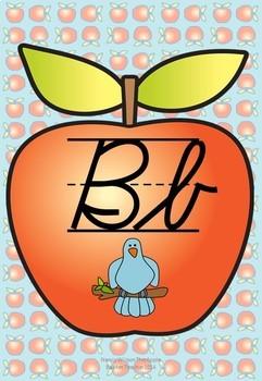 Classroom Alphabet Posters | Modern Cursive | Apple Theme | A 1.1 C