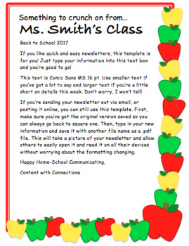 Apple Themed Newsletter for autumn or back to school (3 designs, all editable)