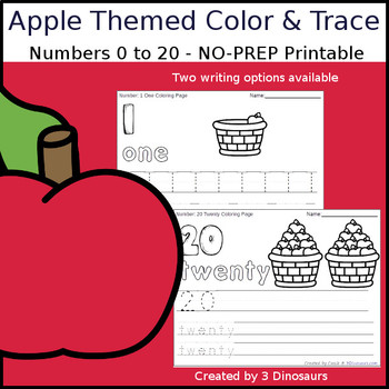 Apple Themed Number Color and Trace
