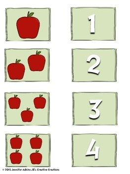 Apple Themed Number Match Cards