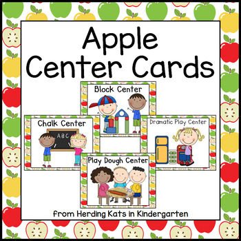 Apple Themed Pocket Chart Center Cards