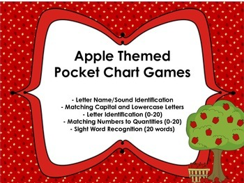 Apple Themed Pocket Chart Games for Kindergarten CCSS
