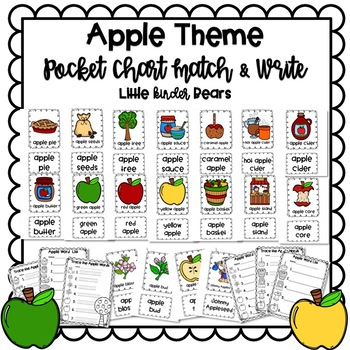 Apple Themed Pocket Chart Pictures & Word Cards