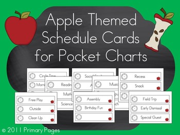 Apple Themed Pocket Chart Schedule Cards