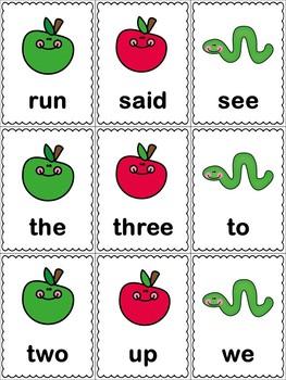 Apple Themed Preprimer Flash Cards (dolch)