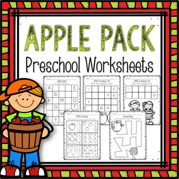 Apple Worksheets Preschool By The Picture Book Cafe Tpt