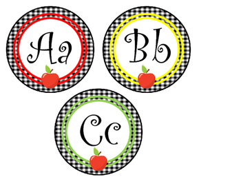Apple Themed Printable Alphabet Word Wall Labels. Preschool-5th grade.