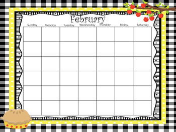 Apple Themed Printable Blank Calendars. Classroom Accessories.