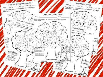 Music Review Worksheets (Apple Theme)