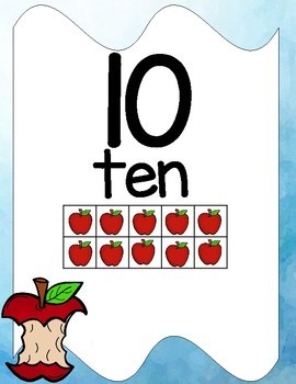 Apple Themed Room Decor Numbers Posters 0 to 20