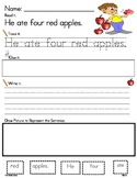 Apple Themed Sentence Building * Read, Trace, Build, Write It!