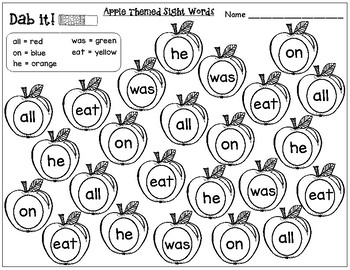 Apple Themed Sight Words:Primer Dolch Sight Words (Dab it)
