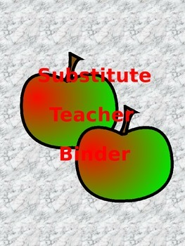 Apple Themed Substitute Binder (EDITABLE)