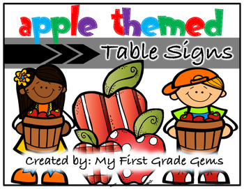 Apple Themed Table Signs