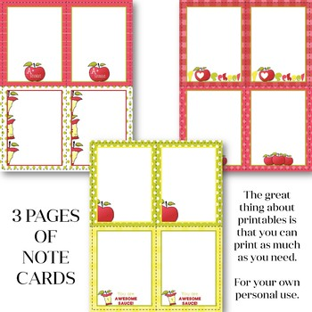 Apple Themed Tags and Note Cards - Back to School FREEBIE