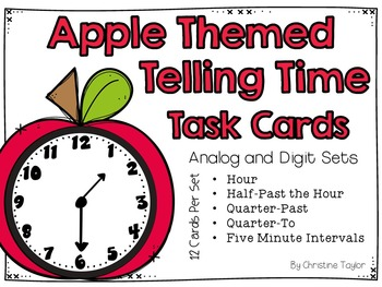 Apple Themed Telling Time Roam the Room Task Cards