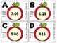 Apple Themed Telling Time to 5-Minute Intervals Roam the Room Task Cards