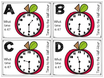 Apple Themed Telling Time to the Half-Hour Roam the Room Task Cards