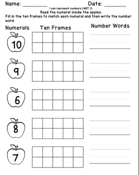 Apple Themed Ten Frame Unit {NBT.1} Counting & Representing Numbers 0-120