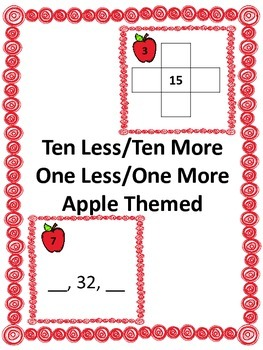 Apple Themed Ten More/Ten Less and One More/One Less Math Centers