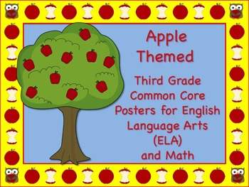 Apple Themed Third Grade Common Core Posters (ELA) Languag