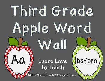 Apple Themed Third Grade Word Wall