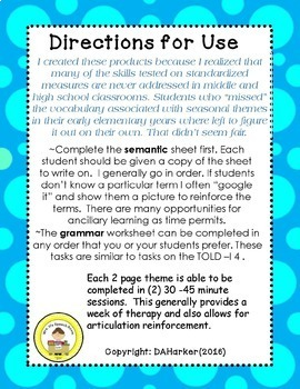 Apple Themed Speech Therapy Vocabulary and Grammar Worksheets Freebie