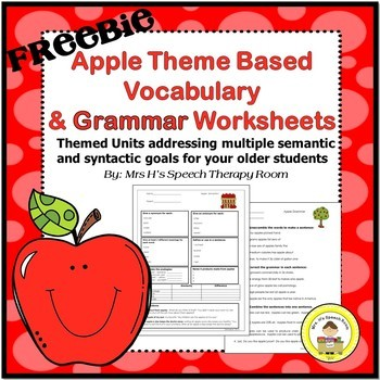Apple Themed Vocabulary and Grammar Worksheets Freebie