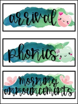 Apple Themed Watercolor Schedule Cards