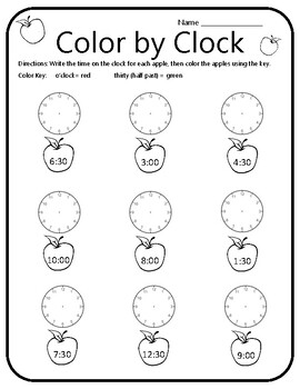 Apple Time Activity Apple Time Math Game Apple Clock Math Apple Math Activities