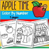 Apple Time Color by Number Printables - 3 pages
