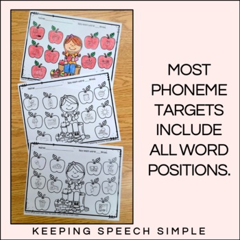 Apple Time Speech - No Prep Articulation Worksheets for Fall