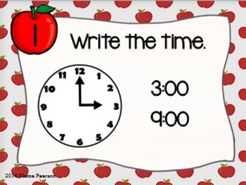 Apple Time to the Hour Task Cards