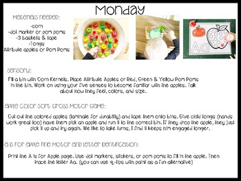 Apple Tot School: Lesson Plans and Activity Pack