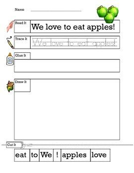 Apple Trace, Cut, Glue Sentences