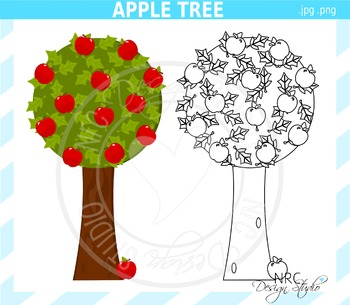 Apple Tree Clip Art - Black Line Art - Commercial Use Clipart