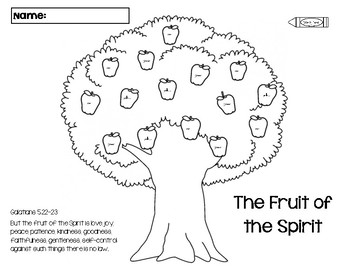 Apple Tree Color by Word Fruit of the Holy Spirit