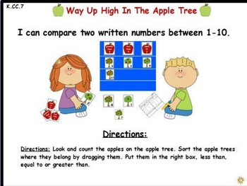 Apple Tree-Comparing 2 Written Numbers: Activeboard center