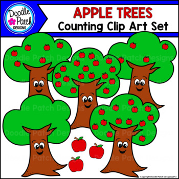 Apple Tree Counting Clip Art Set - Doodle Patch Designs