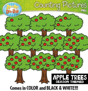 Apple Tree Counting Pictures Clipart {Zip-A-Dee-Doo-Dah Designs}
